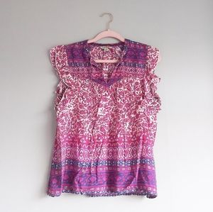 Lucky Brand Tie Front Blouse